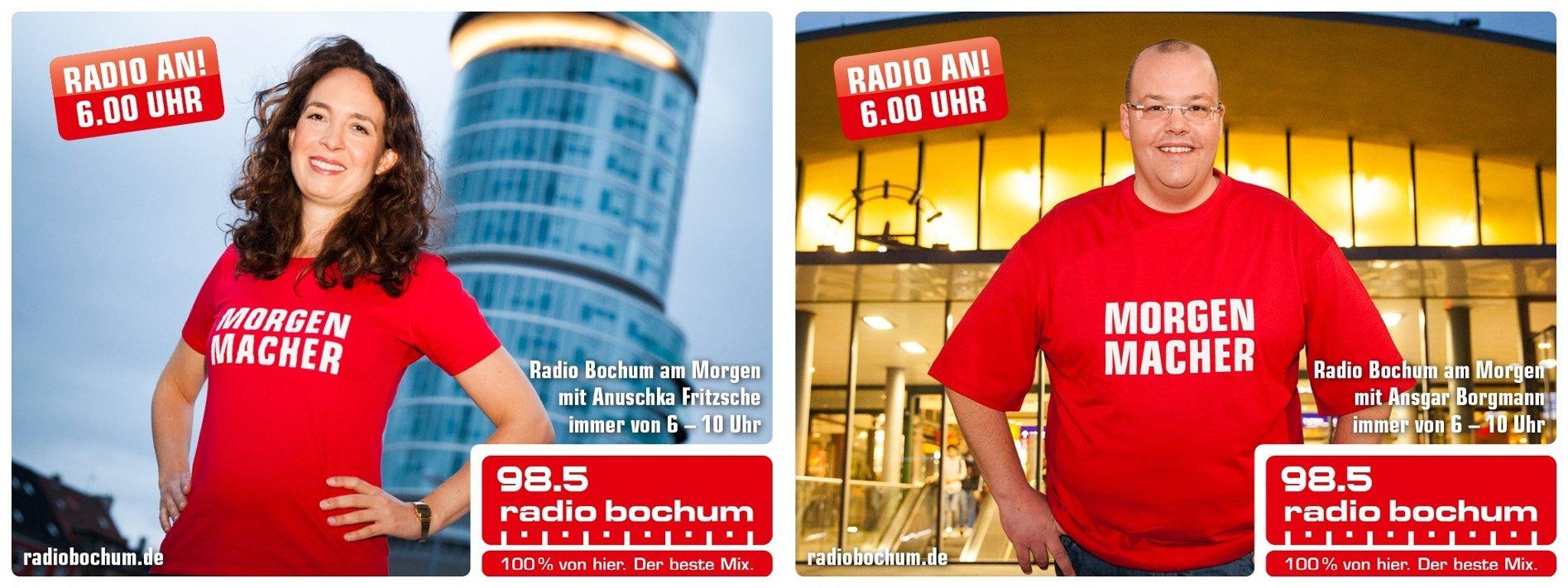 """Die """"Radio Bochum-Morgenmacher"""" präsentieren sich vor der Bochumer Stadtkulisse. Foto: Radio Bochum"""
