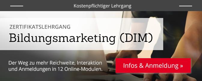 Bildungsmarketing (DIM) – mehr Infos zum Lehrgang