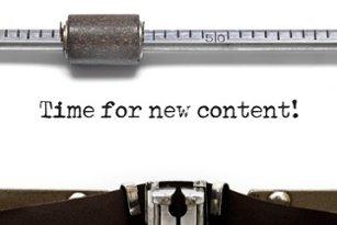 """Ein mit Schreibmaschine getippter Text: """"Time for new content!"""""""