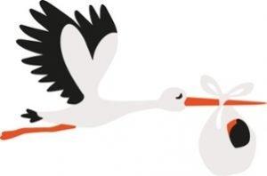 Storch der mit einem Baby im Schnabel fliegt.
