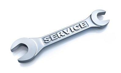 Schraubenschlüssel mit der Aufschrift Service