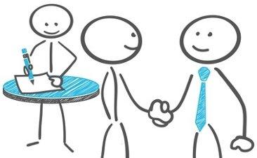 Cartoon: Strichmännchen unterzeichnen Vertrag und schütteln sich die Hand