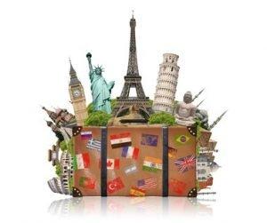 Ein Koffer aus dem bekannte Bauten aus der ganzen Welt ragen