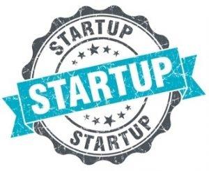 Ein Logo auf dem dreimal startup steht