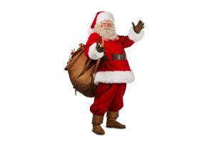 Der Weihnachtsmann winkt und hat einen vollen Sack über seiner rechten Schulter.