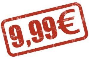 Preisschild auf dem 9 Euro und 99 Cent steht