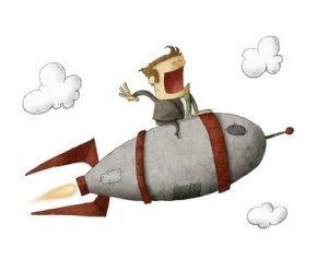 Ein Männchen, dass auf einer fliegenden Rakete sitzt.