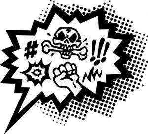 Sprechblase die Beleidigungen enthält