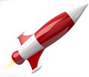 Eine rot-weiße Rakete