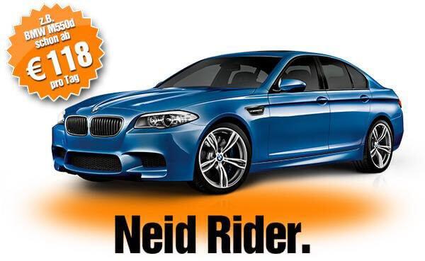 """Sixt Werbung für einen BMW mit dem Slogan """"Neid Rider"""""""