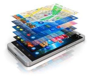 Smartphone auf dem mehrere Apps in verschiedenen Ebenen geöffnet sind