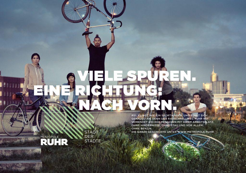 """Die """"Stadt der Städte"""" thematisiert auch den Radschnellweg RS1. Motiv: Regionalverband Ruhr (RVR)"""