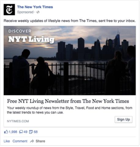"""Werbeanzeigen auf Facebook unterscheiden sich durch den Schriftzug """"Gesponsert"""" von normalen Postings. Screenshot: Facebook Blueprint."""