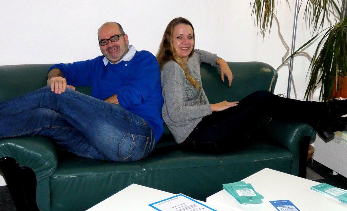 Andreas Kaminski vom CAMP.ESSEN und Katrin Kröll vom ruhr:HUB.