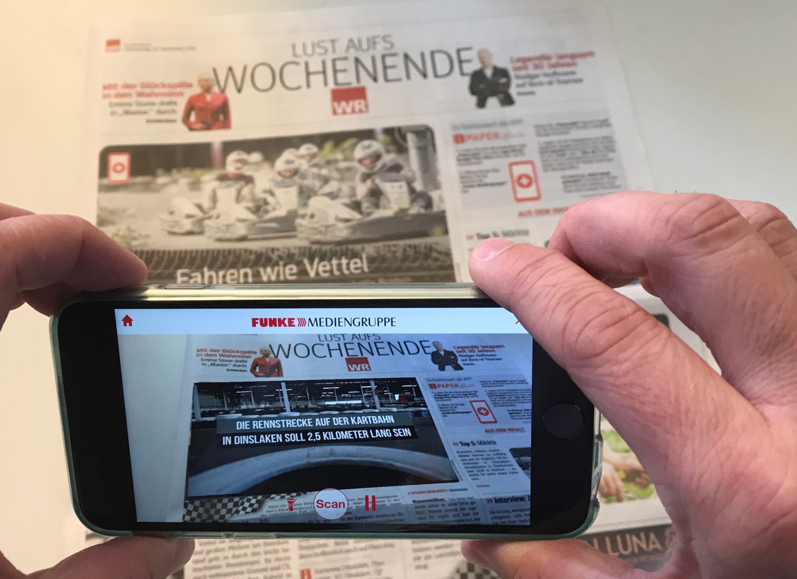 "Die Augmented Reality App ""Paper.plus"" verwandelt Bilder in Videos. Foto: Marketing im Pott"