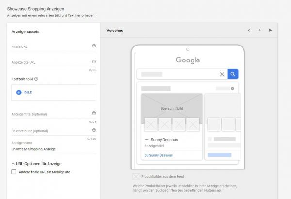 Google Shopping Einstellung by Google