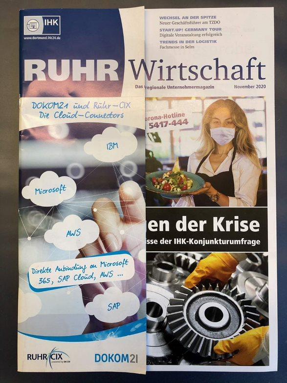 Ansicht Ruhr-CIX Flappe bei der Ruhr Wirtschaft Ausgabe November 2020